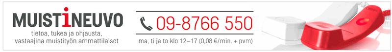 Muistineuvo puh. 09-87766550 - Tietoa, tukea ja ohjausta. Vastaajina muistityön ammattilaiset.