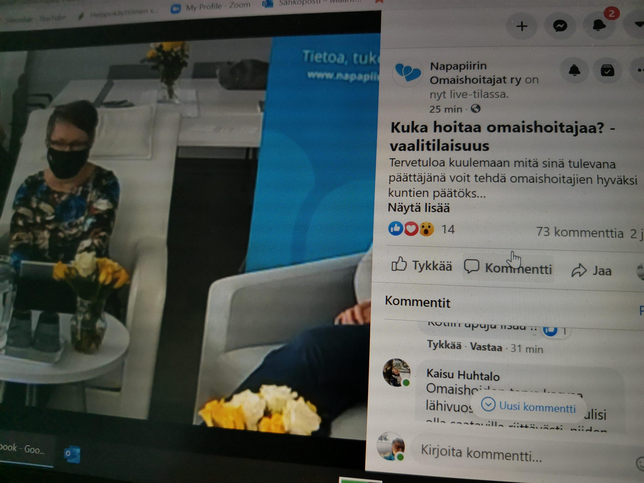 Yleisö osallistuu facebook-liveen.